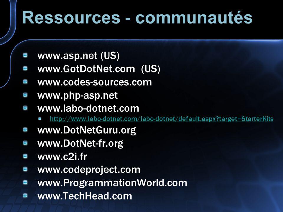Ressources - communautés www.asp.net (US) www.GotDotNet.com (US) www.codes-sources.com www.php-asp.net www.labo-dotnet.com http://www.labo-dotnet.com/