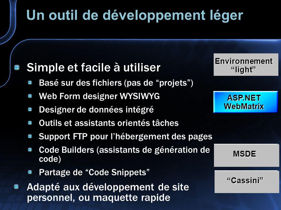 Un outil de développement léger Simple et facile à utiliser Basé sur des fichiers (pas de projets) Web Form designer WYSIWYG Designer de données intég