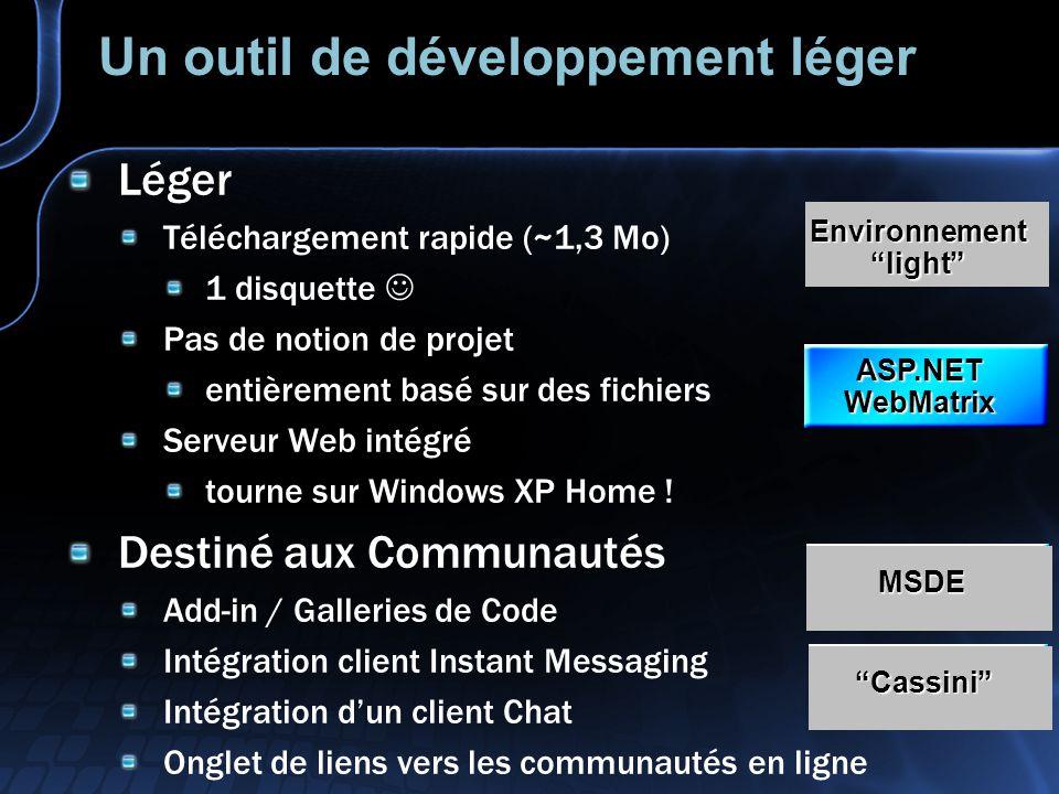 MSDE 2000 Microsoft SQL Server Desktop Engine 2000 Le moteur de SQL Server 2000 Pas dinterface dadministration WebMatrix joue ce rôle Performances bridées Limité à 5 utilisateurs simultanés Limité à 2Go Limite donc de fait lusage au développement ou au déploiement sur poste client ASP.NET WebMatrix MSDE Cassini Environnement light