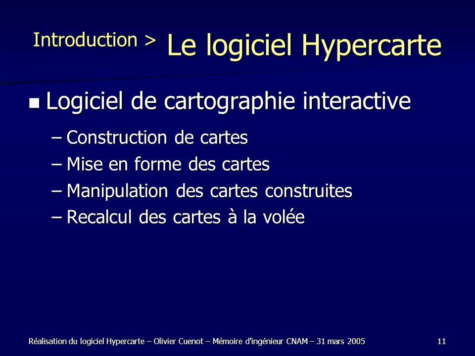 Réalisation du logiciel Hypercarte – Olivier Cuenot – Mémoire d'ingénieur CNAM – 31 mars 200511 Introduction > Le logiciel Hypercarte Logiciel de cart