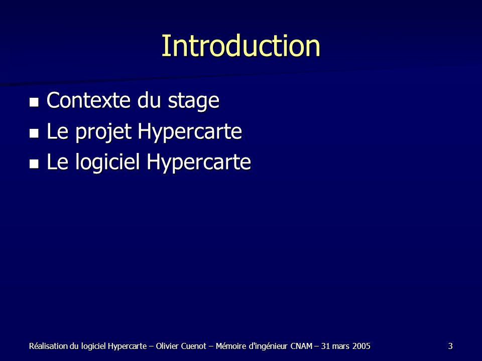 Réalisation du logiciel Hypercarte – Olivier Cuenot – Mémoire d ingénieur CNAM – 31 mars 20053 Introduction Contexte du stage Contexte du stage Le projet Hypercarte Le projet Hypercarte Le logiciel Hypercarte Le logiciel Hypercarte