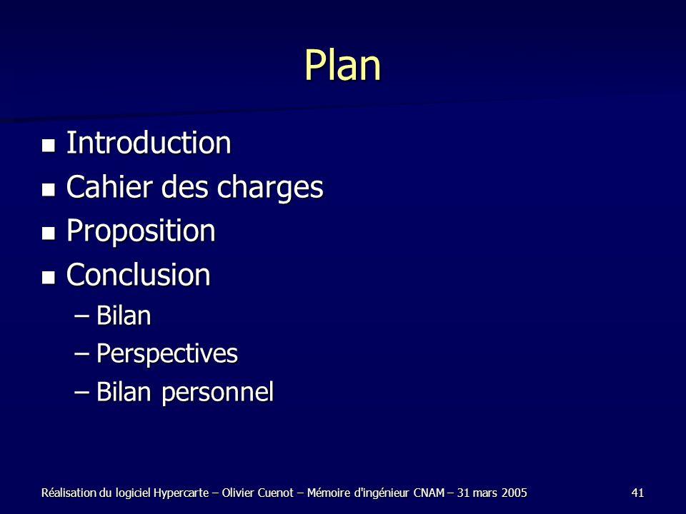 Réalisation du logiciel Hypercarte – Olivier Cuenot – Mémoire d'ingénieur CNAM – 31 mars 200541 Plan Introduction Introduction Cahier des charges Cahi