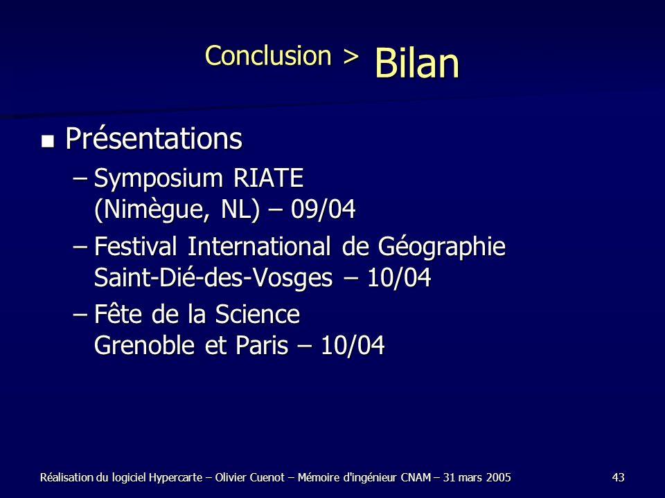 Réalisation du logiciel Hypercarte – Olivier Cuenot – Mémoire d'ingénieur CNAM – 31 mars 200543 Conclusion > Bilan Présentations Présentations –Sympos