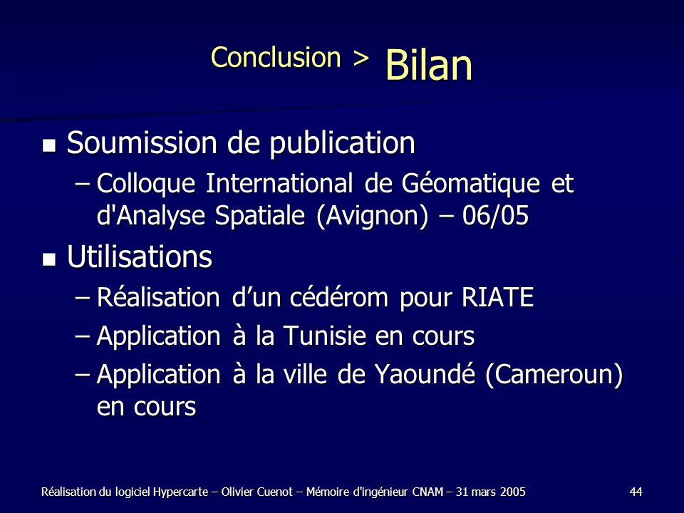 Réalisation du logiciel Hypercarte – Olivier Cuenot – Mémoire d'ingénieur CNAM – 31 mars 200544 Conclusion > Bilan Soumission de publication Soumissio