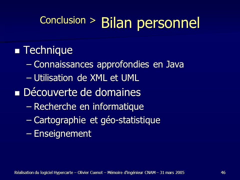 Réalisation du logiciel Hypercarte – Olivier Cuenot – Mémoire d'ingénieur CNAM – 31 mars 200546 Conclusion > Bilan personnel Technique Technique –Conn