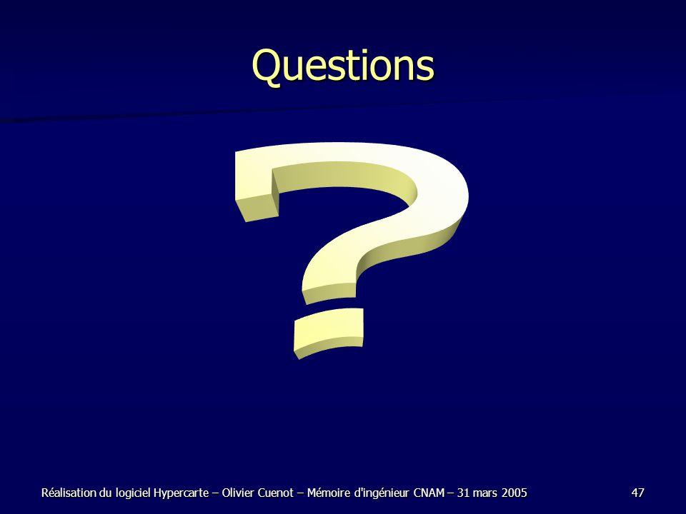 Réalisation du logiciel Hypercarte – Olivier Cuenot – Mémoire d ingénieur CNAM – 31 mars 200547 Questions