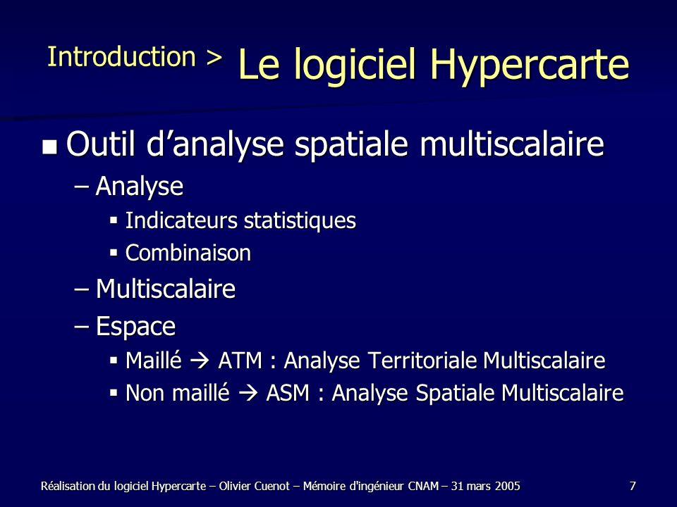 Réalisation du logiciel Hypercarte – Olivier Cuenot – Mémoire d'ingénieur CNAM – 31 mars 20057 Introduction > Le logiciel Hypercarte Outil danalyse sp