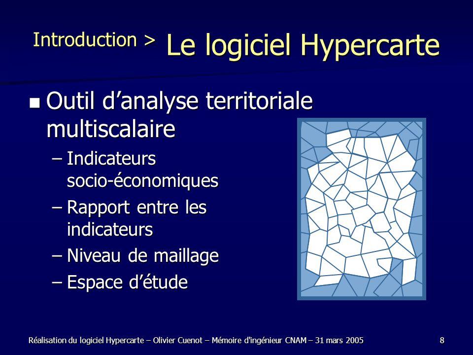 Réalisation du logiciel Hypercarte – Olivier Cuenot – Mémoire d'ingénieur CNAM – 31 mars 20058 Introduction > Le logiciel Hypercarte Outil danalyse te