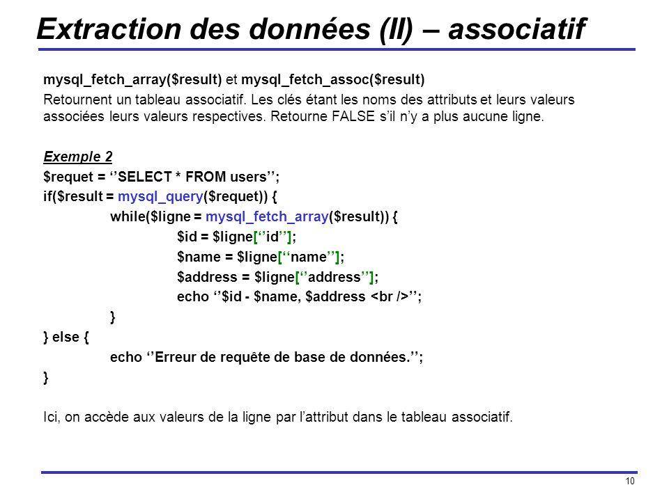10 Extraction des données (II) – associatif mysql_fetch_array($result) et mysql_fetch_assoc($result) Retournent un tableau associatif.