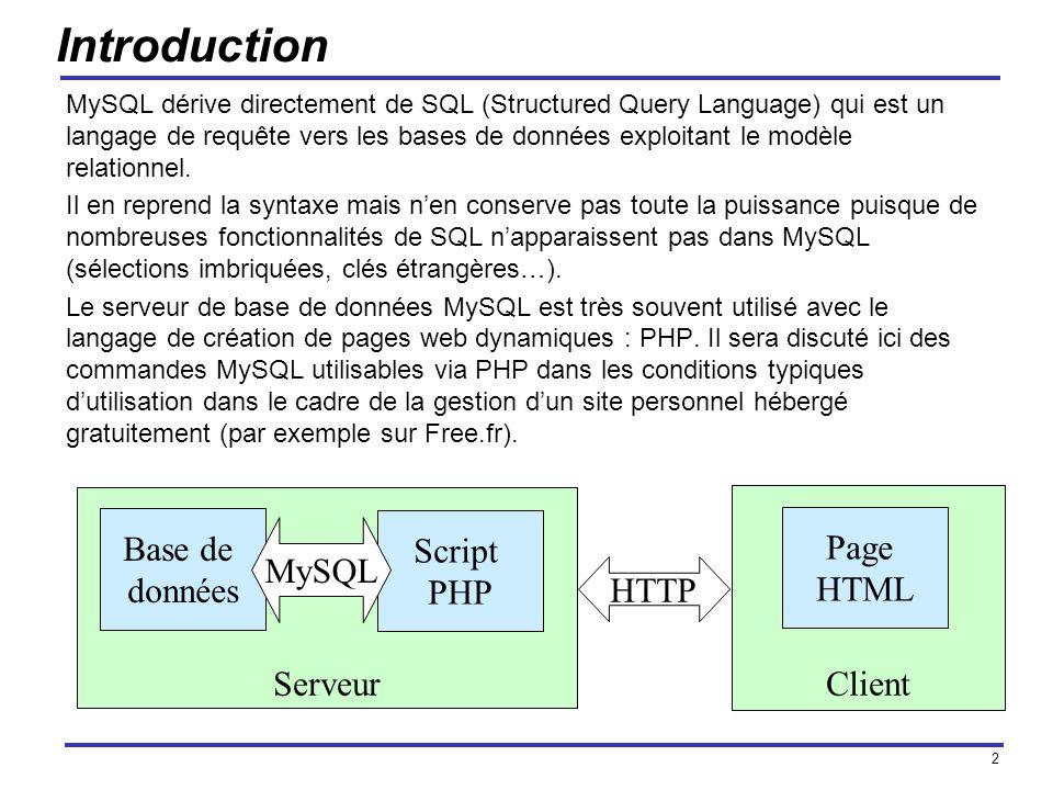 2 Serveur Introduction MySQL dérive directement de SQL (Structured Query Language) qui est un langage de requête vers les bases de données exploitant le modèle relationnel.