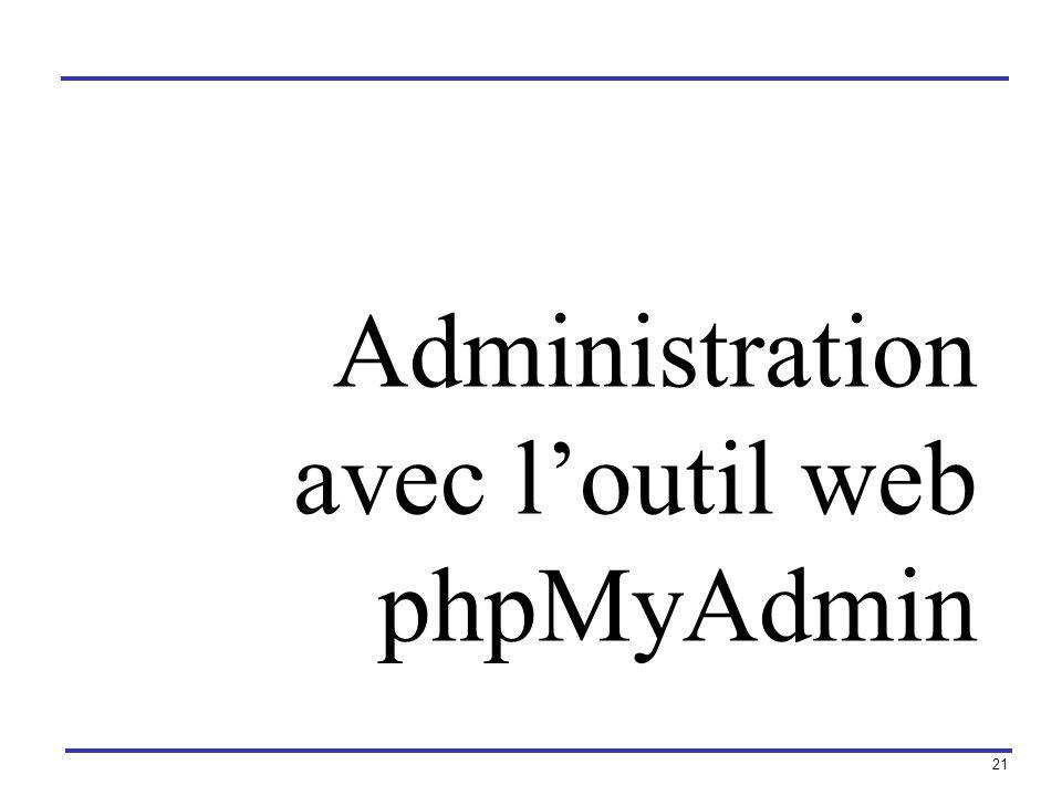 21 Administration avec loutil web phpMyAdmin