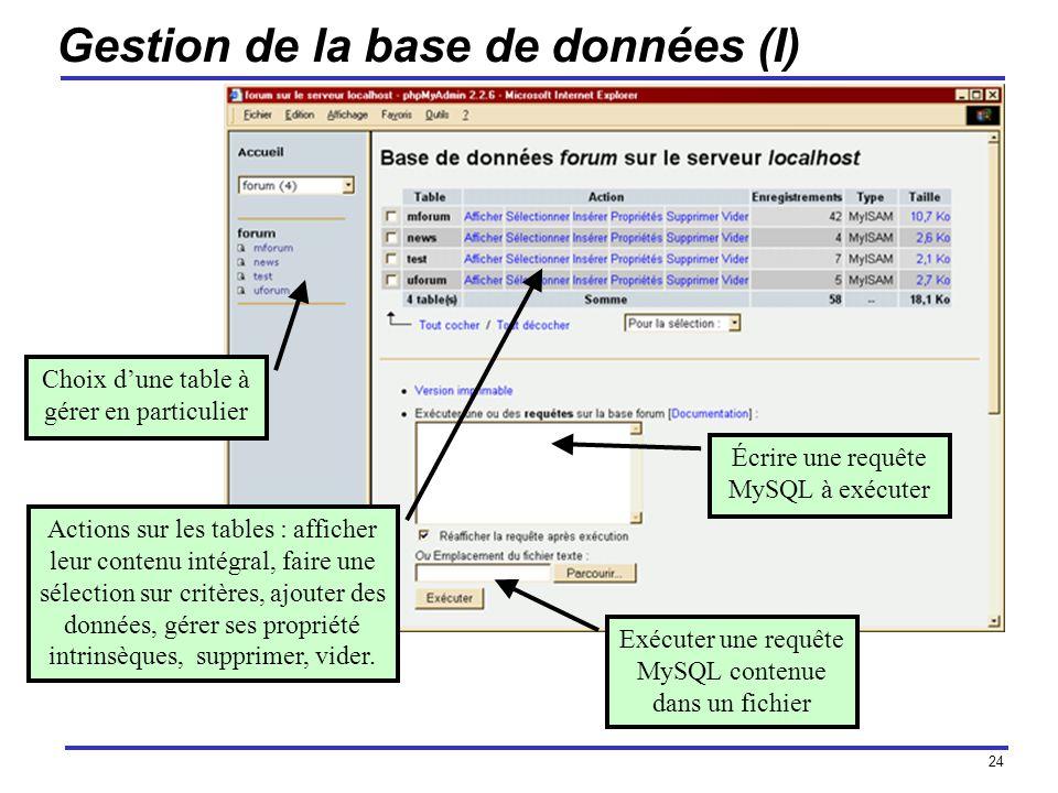 24 Gestion de la base de données (I) Choix dune table à gérer en particulier Écrire une requête MySQL à exécuter Exécuter une requête MySQL contenue dans un fichier Actions sur les tables : afficher leur contenu intégral, faire une sélection sur critères, ajouter des données, gérer ses propriété intrinsèques, supprimer, vider.