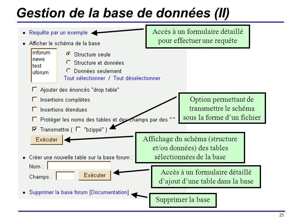 25 Gestion de la base de données (II) Accès à un formulaire détaillé pour effectuer une requête Affichage du schéma (structure et/ou données) des tables sélectionnées de la base Option permettant de transmettre le schéma sous la forme dun fichier Accès à un formulaire détaillé dajout dune table dans la base Supprimer la base
