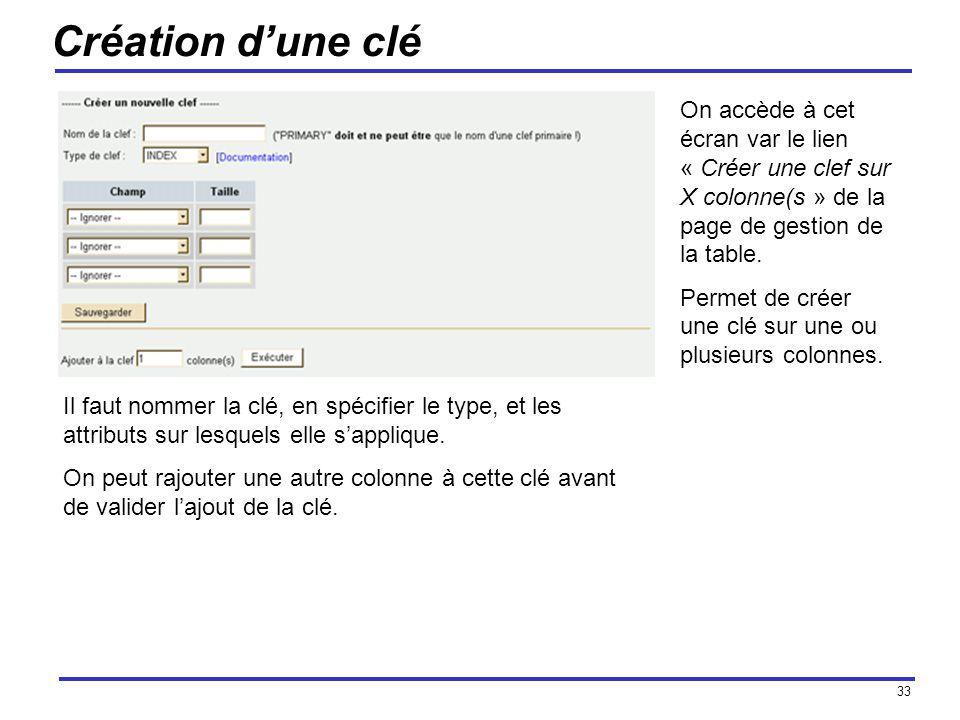 33 Création dune clé On accède à cet écran var le lien « Créer une clef sur X colonne(s » de la page de gestion de la table.
