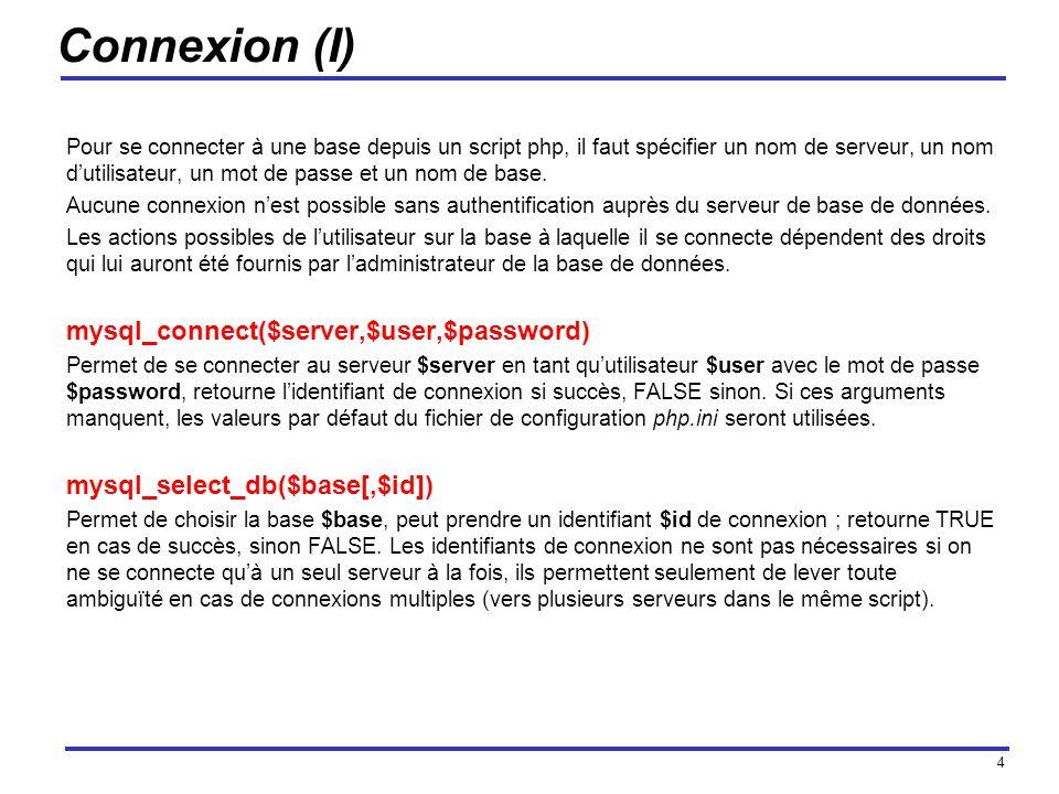 4 Connexion (I) Pour se connecter à une base depuis un script php, il faut spécifier un nom de serveur, un nom dutilisateur, un mot de passe et un nom de base.