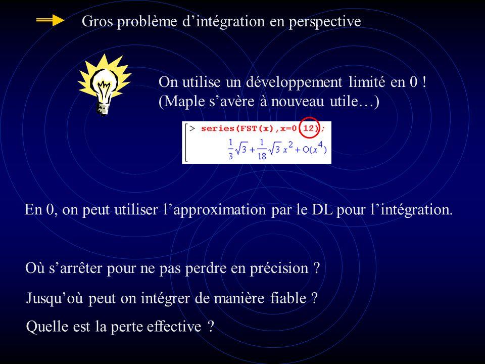 Gros problème dintégration en perspective On utilise un développement limité en 0 .