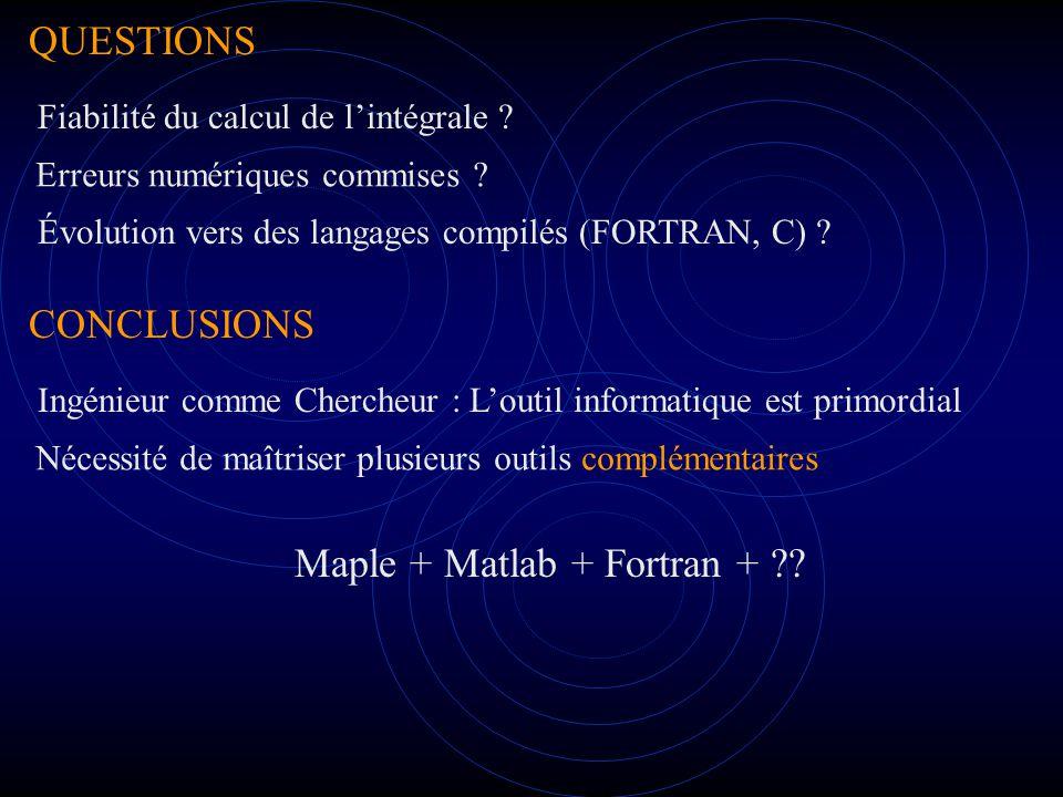 QUESTIONS CONCLUSIONS Erreurs numériques commises .