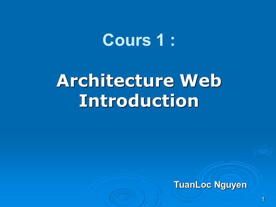 1 Architecture Web Introduction Cours 1 : Architecture Web Introduction TuanLoc Nguyen