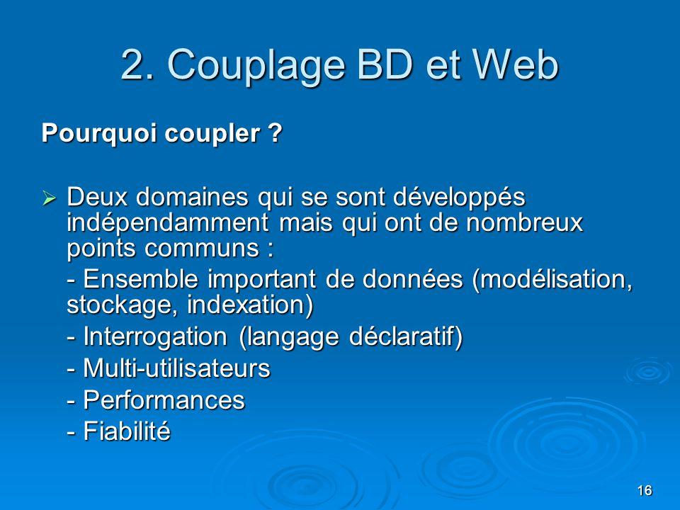 16 2. Couplage BD et Web Pourquoi coupler ? Deux domaines qui se sont développés indépendamment mais qui ont de nombreux points communs : Deux domaine
