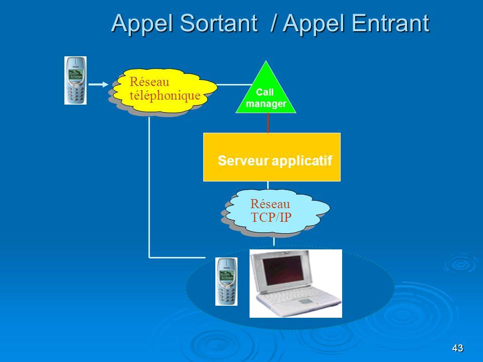 43 Appel Sortant / Appel Entrant Serveur applicatif Call manager Réseau TCP/IP Réseau téléphonique