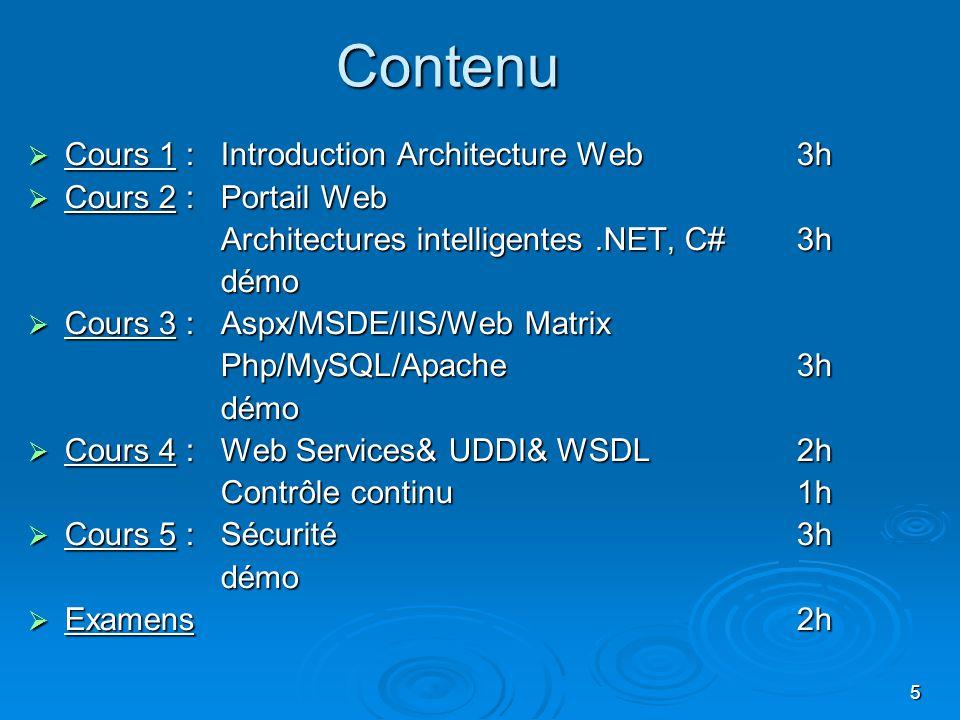 5 Contenu Cours 1 : Introduction Architecture Web 3h Cours 1 : Introduction Architecture Web 3h Cours 2 : Portail Web Cours 2 : Portail Web Architectu