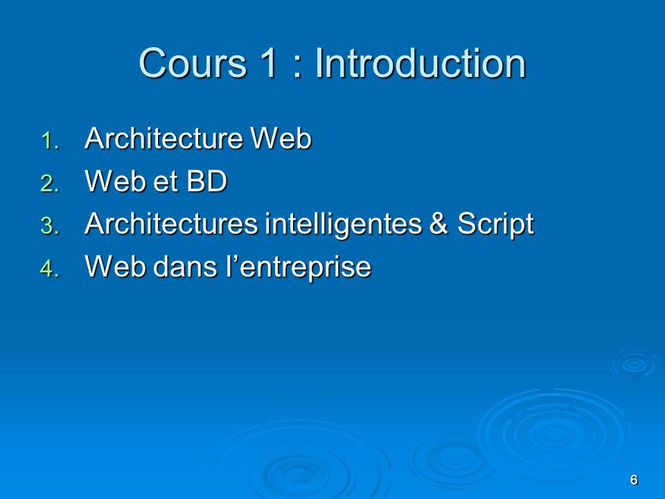 6 Cours 1 : Introduction 1. Architecture Web 2. Web et BD 3. Architectures intelligentes & Script 4. Web dans lentreprise