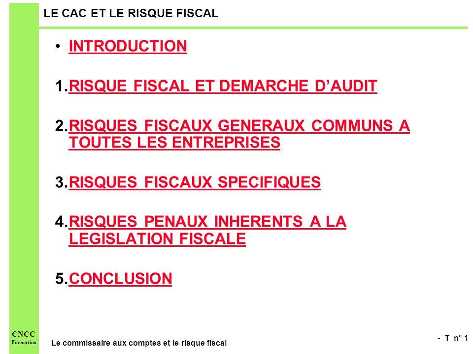 - T n° 1 Le commissaire aux comptes et le risque fiscal CNCC Formation LE CAC ET LE RISQUE FISCAL INTRODUCTION 1.RISQUE FISCAL ET DEMARCHE DAUDITRISQU