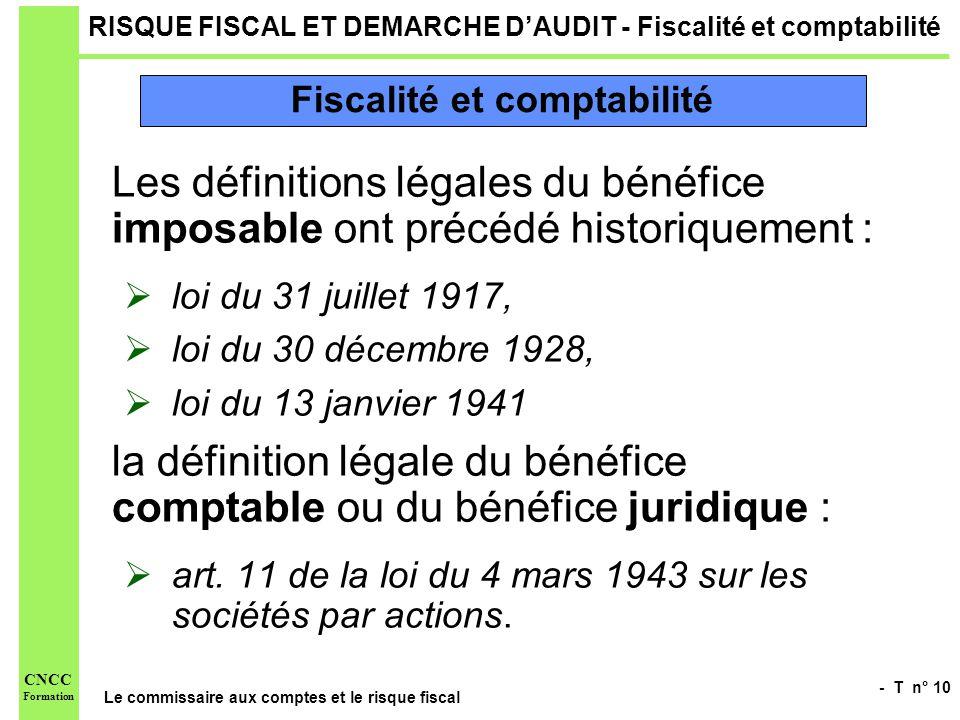 - T n° 10 Le commissaire aux comptes et le risque fiscal CNCC Formation RISQUE FISCAL ET DEMARCHE DAUDIT - Fiscalité et comptabilité Les définitions l