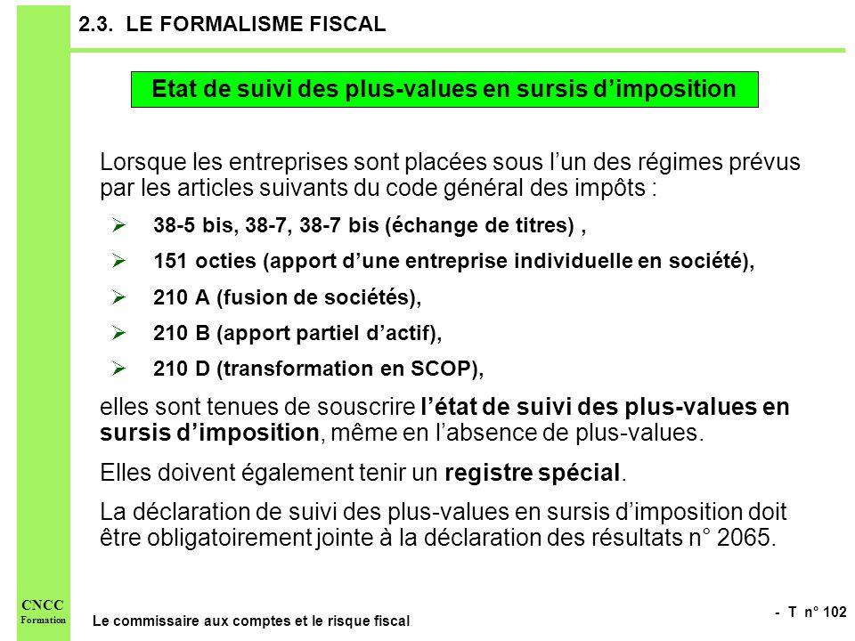- T n° 102 Le commissaire aux comptes et le risque fiscal CNCC Formation 2.3. LE FORMALISME FISCAL Lorsque les entreprises sont placées sous lun des r