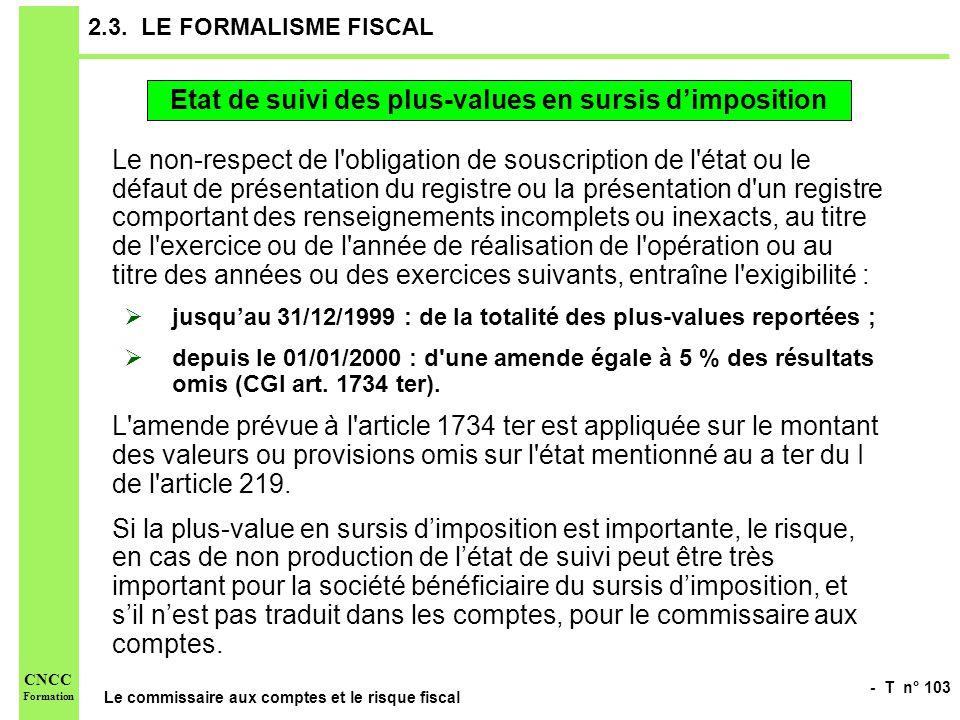 - T n° 103 Le commissaire aux comptes et le risque fiscal CNCC Formation 2.3. LE FORMALISME FISCAL Le non-respect de l'obligation de souscription de l