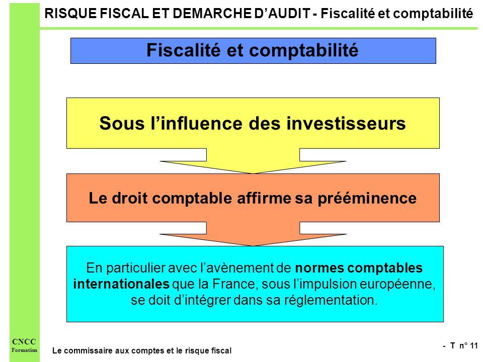 - T n° 11 Le commissaire aux comptes et le risque fiscal CNCC Formation RISQUE FISCAL ET DEMARCHE DAUDIT - Fiscalité et comptabilité Sous linfluence d