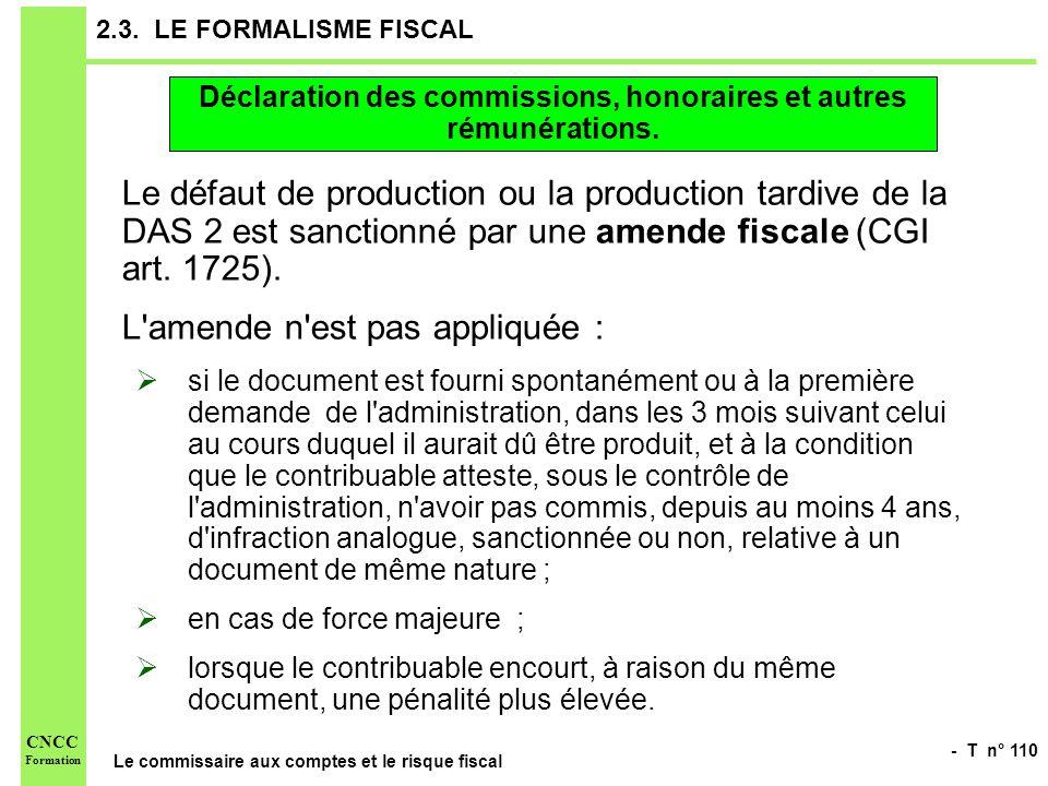 - T n° 110 Le commissaire aux comptes et le risque fiscal CNCC Formation 2.3. LE FORMALISME FISCAL Le défaut de production ou la production tardive de