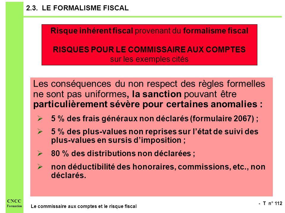 - T n° 112 Le commissaire aux comptes et le risque fiscal CNCC Formation 2.3. LE FORMALISME FISCAL Les conséquences du non respect des règles formelle
