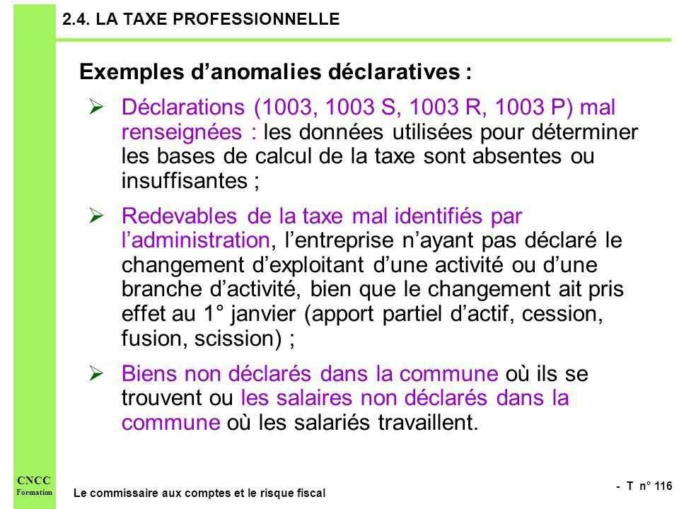 - T n° 116 Le commissaire aux comptes et le risque fiscal CNCC Formation 2.4. LA TAXE PROFESSIONNELLE Exemples danomalies déclaratives : Déclarations