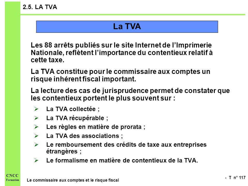 - T n° 117 Le commissaire aux comptes et le risque fiscal CNCC Formation 2.5. LA TVA Les 88 arrêts publiés sur le site Internet de lImprimerie Nationa