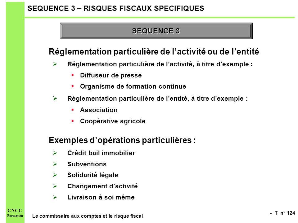- T n° 124 Le commissaire aux comptes et le risque fiscal CNCC Formation SEQUENCE 3 – RISQUES FISCAUX SPECIFIQUES Réglementation particulière de lacti