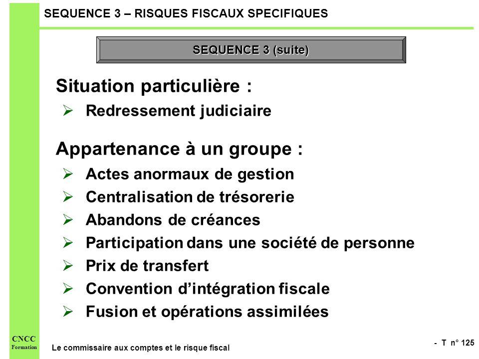 - T n° 125 Le commissaire aux comptes et le risque fiscal CNCC Formation SEQUENCE 3 – RISQUES FISCAUX SPECIFIQUES Situation particulière : Redressemen