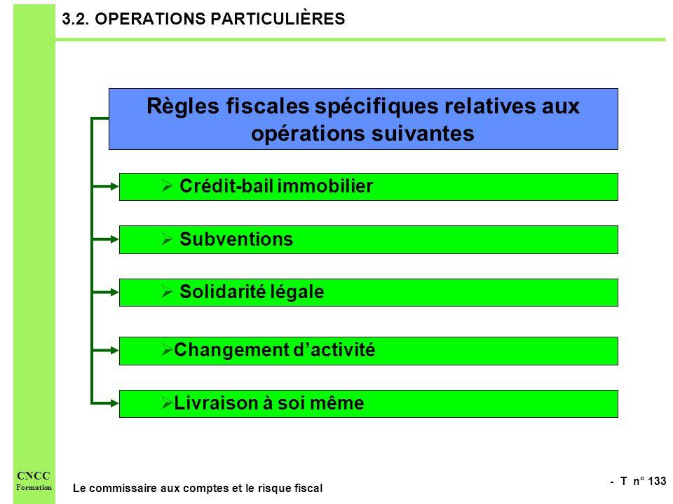 - T n° 133 Le commissaire aux comptes et le risque fiscal CNCC Formation 3.2. OPERATIONS PARTICULIÈRES Règles fiscales spécifiques relatives aux opéra