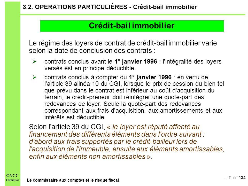 - T n° 134 Le commissaire aux comptes et le risque fiscal CNCC Formation 3.2. OPERATIONS PARTICULIÈRES - Crédit-bail immobilier Le régime des loyers d