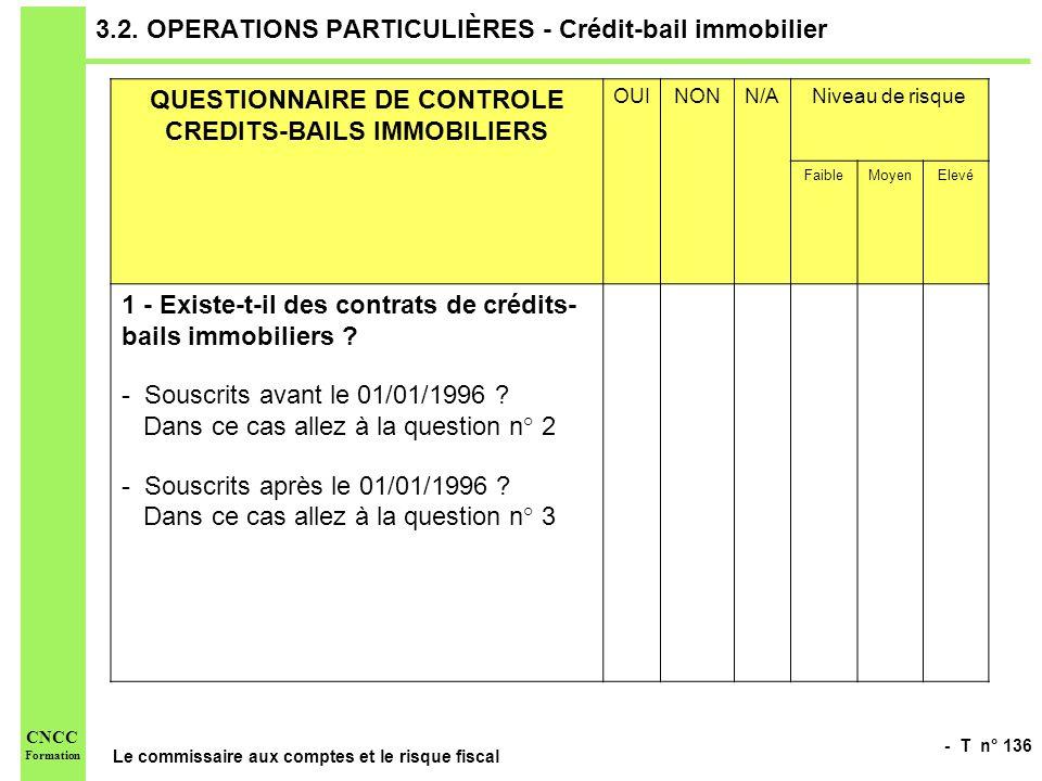 - T n° 136 Le commissaire aux comptes et le risque fiscal CNCC Formation 3.2. OPERATIONS PARTICULIÈRES - Crédit-bail immobilier QUESTIONNAIRE DE CONTR