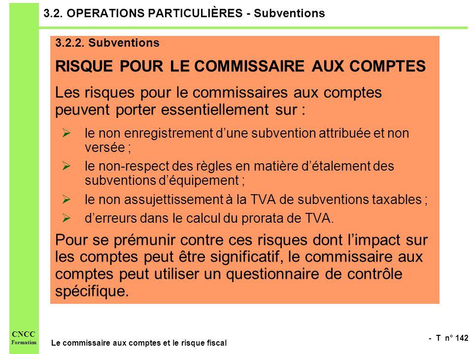 - T n° 142 Le commissaire aux comptes et le risque fiscal CNCC Formation 3.2. OPERATIONS PARTICULIÈRES - Subventions 3.2.2. Subventions RISQUE POUR LE