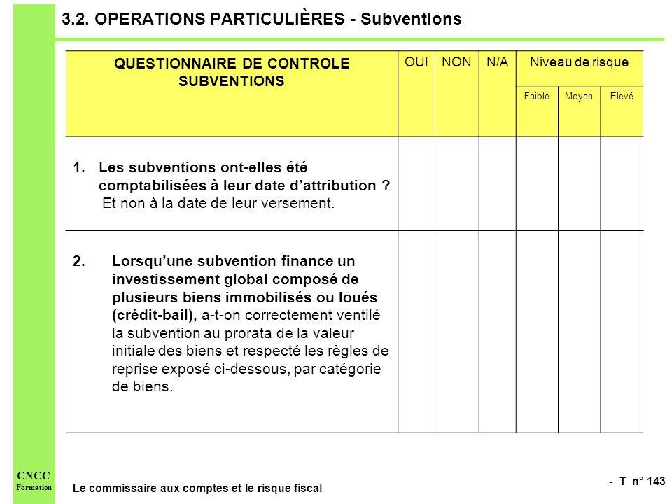 - T n° 143 Le commissaire aux comptes et le risque fiscal CNCC Formation 3.2. OPERATIONS PARTICULIÈRES - Subventions QUESTIONNAIRE DE CONTROLE SUBVENT