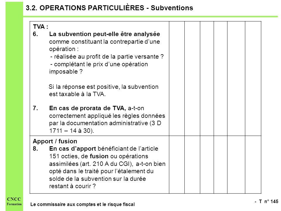 - T n° 145 Le commissaire aux comptes et le risque fiscal CNCC Formation 3.2. OPERATIONS PARTICULIÈRES - Subventions TVA : 6.La subvention peut-elle ê