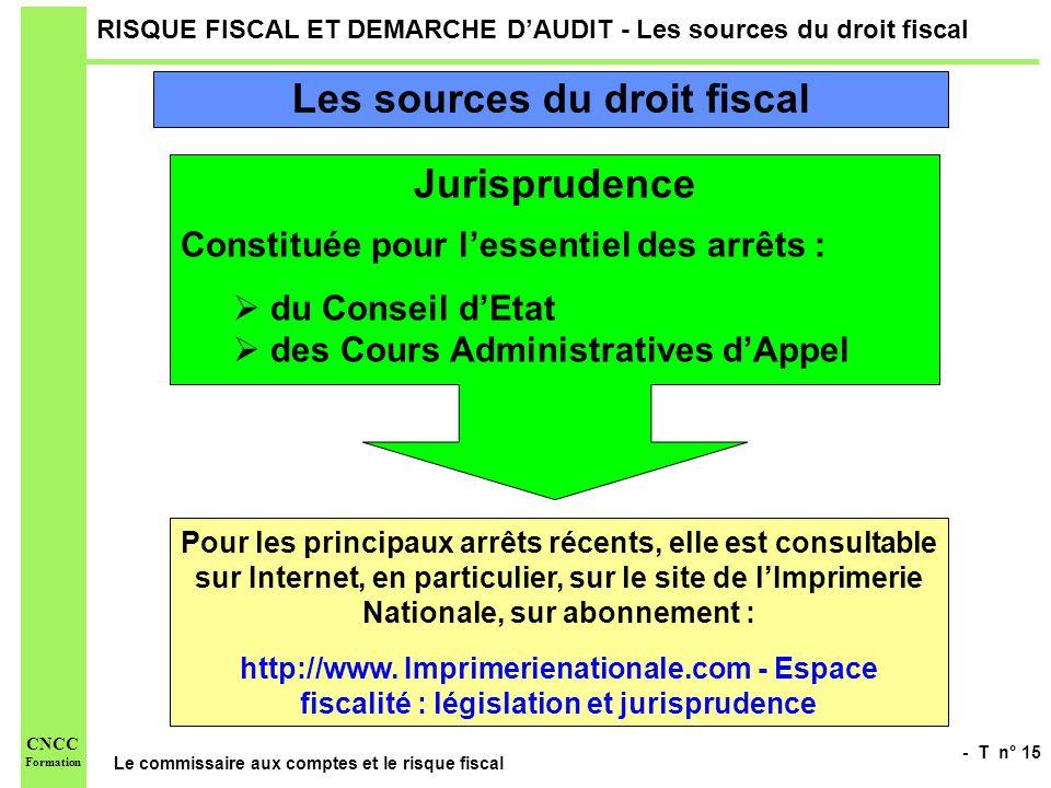- T n° 15 Le commissaire aux comptes et le risque fiscal CNCC Formation RISQUE FISCAL ET DEMARCHE DAUDIT - Les sources du droit fiscal Jurisprudence C