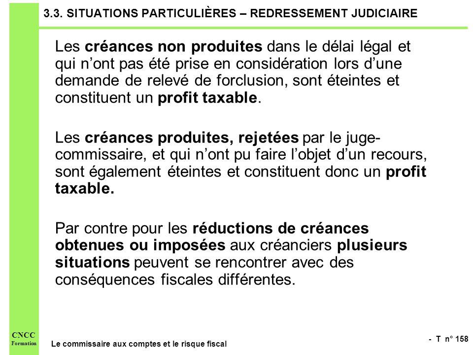 - T n° 158 Le commissaire aux comptes et le risque fiscal CNCC Formation 3.3. SITUATIONS PARTICULIÈRES – REDRESSEMENT JUDICIAIRE Les créances non prod