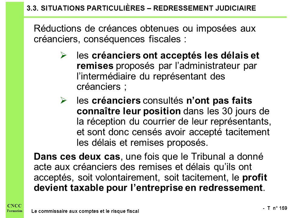 - T n° 159 Le commissaire aux comptes et le risque fiscal CNCC Formation 3.3. SITUATIONS PARTICULIÈRES – REDRESSEMENT JUDICIAIRE Réductions de créance