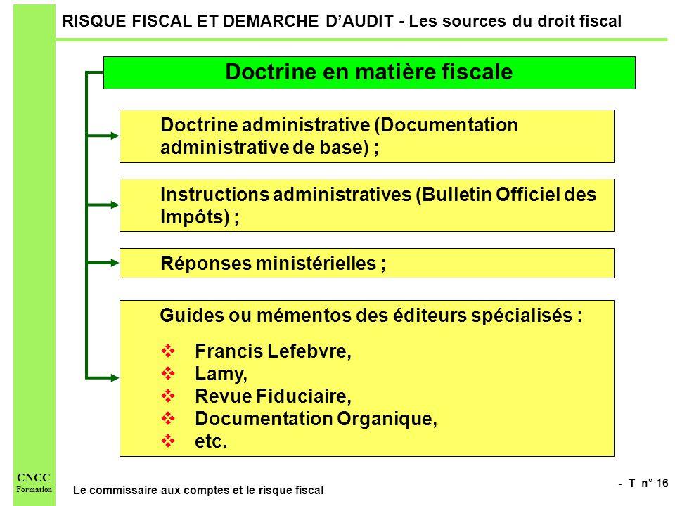 - T n° 16 Le commissaire aux comptes et le risque fiscal CNCC Formation RISQUE FISCAL ET DEMARCHE DAUDIT - Les sources du droit fiscal Doctrine en mat