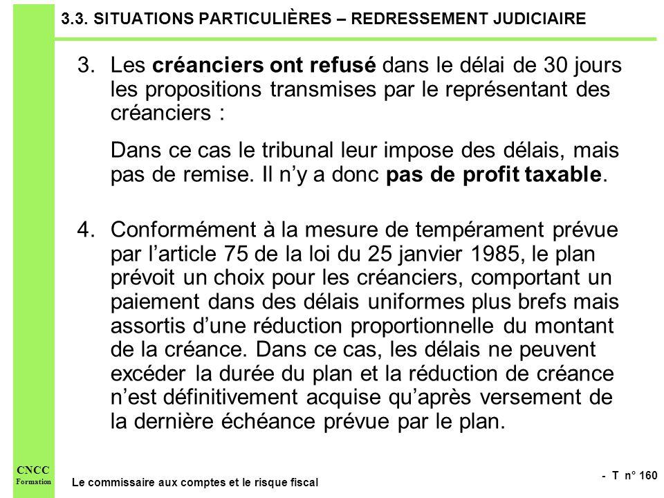 - T n° 160 Le commissaire aux comptes et le risque fiscal CNCC Formation 3.3. SITUATIONS PARTICULIÈRES – REDRESSEMENT JUDICIAIRE 3.Les créanciers ont