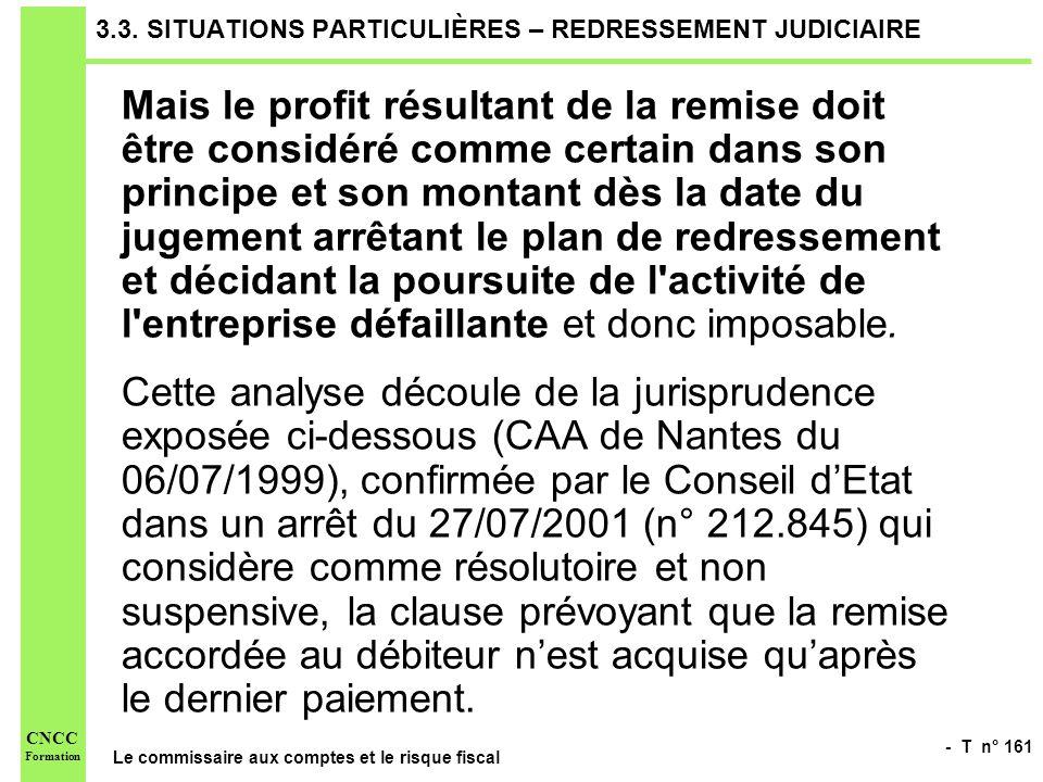 - T n° 161 Le commissaire aux comptes et le risque fiscal CNCC Formation 3.3. SITUATIONS PARTICULIÈRES – REDRESSEMENT JUDICIAIRE Mais le profit résult