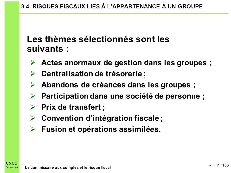 - T n° 163 Le commissaire aux comptes et le risque fiscal CNCC Formation 3.4. RISQUES FISCAUX LIÉS À LAPPARTENANCE À UN GROUPE Les thèmes sélectionnés